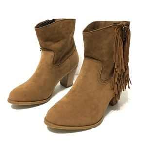 RAMPAGE Frankey Fringe Suede Ankle Boots Bootie